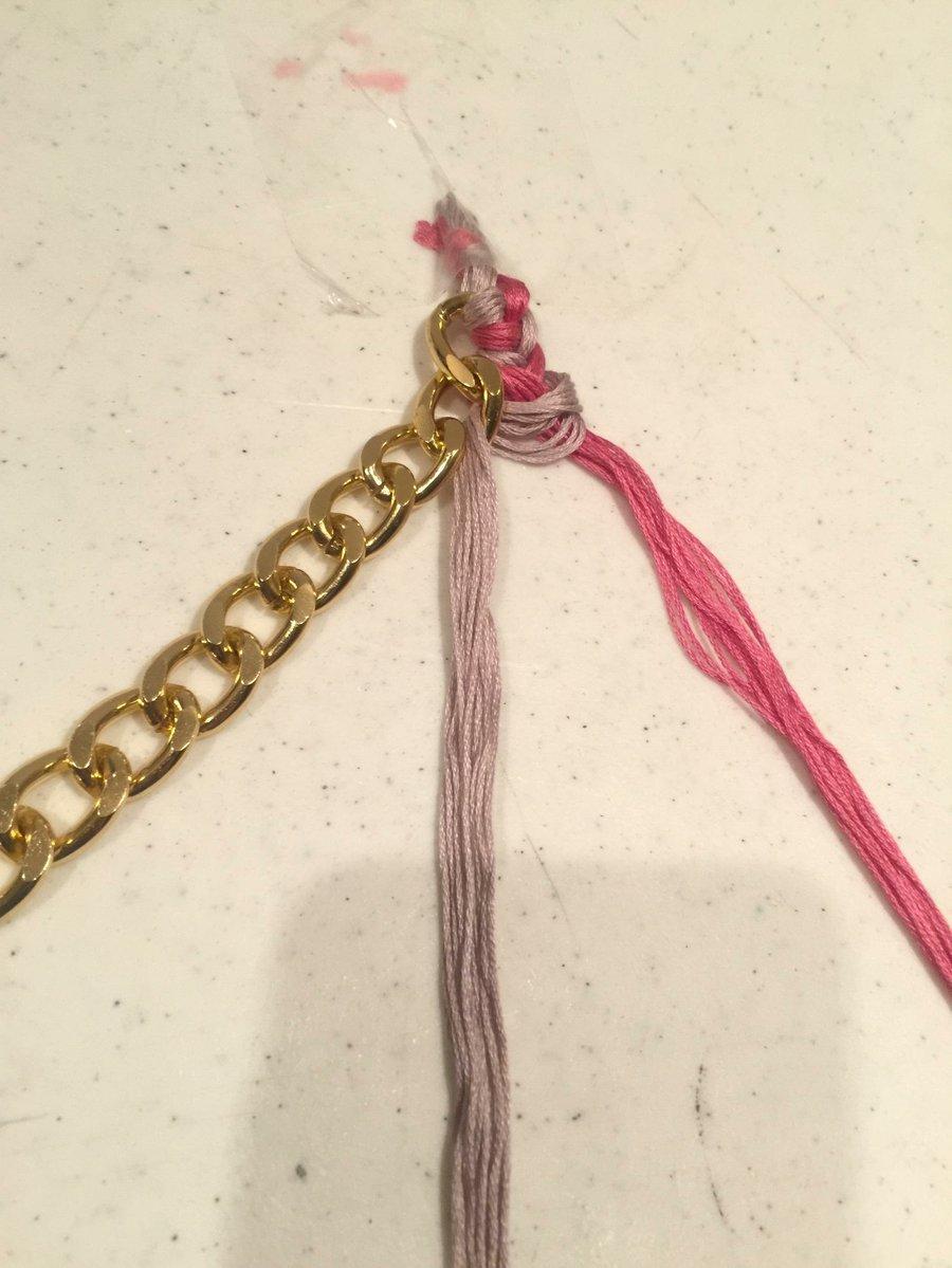 Hagamos una pulsera con cadena e hilo! | Manualidades