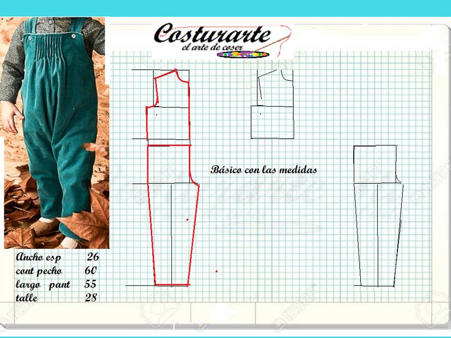 Patrón pantalón niña tipo overol con sus trucos de diseño | Manualidades