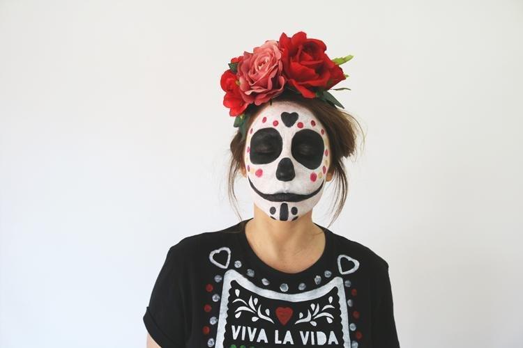 Cómo hacer pintura blanca facial casera + Maquillaje de Catrina ...